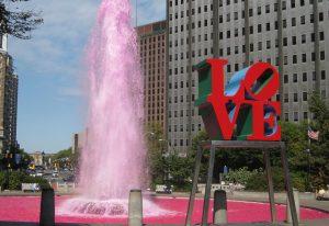 розовый фонтан Филадельфия