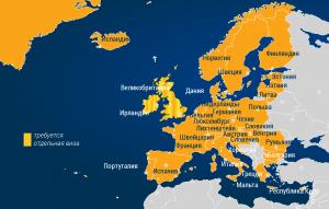 Карта Европы Безвиз